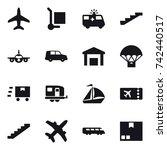 16 vector icon set   plane ...   Shutterstock .eps vector #742440517