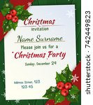 christmas invitation with satin ... | Shutterstock .eps vector #742449823