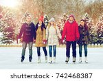 people  winter  friendship ... | Shutterstock . vector #742468387