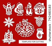 set of christmas decoration  ... | Shutterstock .eps vector #742480183