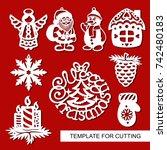 set of christmas decoration  ... | Shutterstock .eps vector #742480183