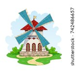 vintage windmill. wind energy... | Shutterstock .eps vector #742486657