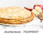 stack of crepes with meringue...   Shutterstock . vector #742495057