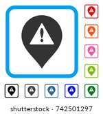 danger map marker icon. flat...