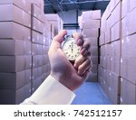 paper products storehouse and... | Shutterstock . vector #742512157