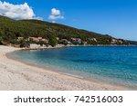 the quiet shores of prizba seen ...   Shutterstock . vector #742516003