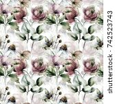 seamless pattern with flowers ...   Shutterstock . vector #742523743