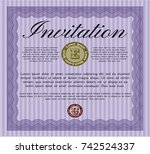 violet vintage invitation. with ... | Shutterstock .eps vector #742524337
