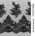 seamless vector black lace... | Shutterstock .eps vector #742527883