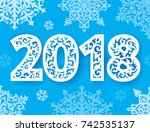 new 2018 year numbers ornate... | Shutterstock .eps vector #742535137