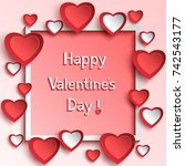 trendy abstract valentines day... | Shutterstock .eps vector #742543177