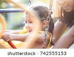 happy asian little child girl... | Shutterstock . vector #742555153