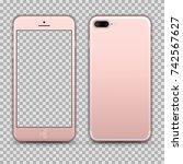 realistic rosegold smartphone... | Shutterstock .eps vector #742567627