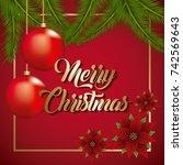 merry christmas card poinsettia ... | Shutterstock .eps vector #742569643