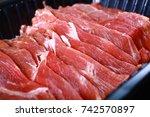 fresh uncooked raw sukiyaki... | Shutterstock . vector #742570897