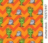 zombie hand seamless pattern... | Shutterstock .eps vector #742571947