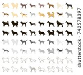 dog breeds set icons in cartoon ... | Shutterstock .eps vector #742578397