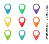 set of colorful map pins. mark  ... | Shutterstock .eps vector #742586203