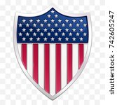 metallic usa pennant in the... | Shutterstock .eps vector #742605247