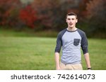portrait of a teenage boy... | Shutterstock . vector #742614073