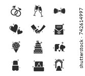 set of wedding icon vector | Shutterstock .eps vector #742614997