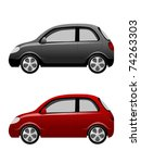 two small cars on a white... | Shutterstock .eps vector #74263303