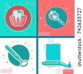 set of dental cleaning tools | Shutterstock .eps vector #742635727