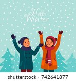 happy and smiling girl and boy... | Shutterstock .eps vector #742641877