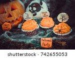 halloween cupcakes | Shutterstock . vector #742655053