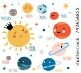 solar system with cute cartoon... | Shutterstock .eps vector #742656823