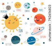 solar system with cute cartoon... | Shutterstock .eps vector #742656823