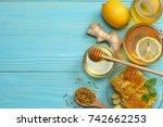 healthy background. honey ... | Shutterstock . vector #742662253
