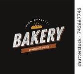bakery logo vintage style.... | Shutterstock .eps vector #742667743