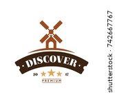 windmill discover logo vintage... | Shutterstock .eps vector #742667767