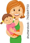happy young woman holding... | Shutterstock .eps vector #742669753