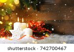 candels with christmas... | Shutterstock . vector #742700467