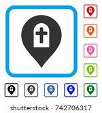cemetery marker icon. flat grey ...   Shutterstock .eps vector #742706317