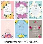 wedding invitation card... | Shutterstock .eps vector #742708597