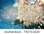 christmas ornament on wooden... | Shutterstock . vector #742711633