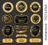 blank golden frame badge and... | Shutterstock .eps vector #742712563