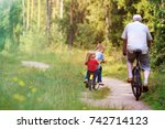 active senior with grandkids... | Shutterstock . vector #742714123