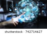 flying earth network interface... | Shutterstock . vector #742714627