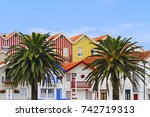 two palm trees among the... | Shutterstock . vector #742719313