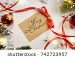 holiday christmas background  | Shutterstock . vector #742723957