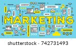marketing  technology concept.... | Shutterstock .eps vector #742731493