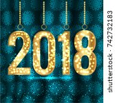 happy new year and merry...   Shutterstock .eps vector #742732183