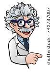 a cartoon scientist professor... | Shutterstock .eps vector #742737007