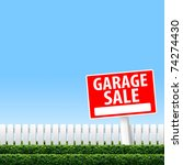 garage sale sign on white fence ... | Shutterstock . vector #74274430