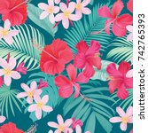 tropical seamless pattern with... | Shutterstock .eps vector #742765393