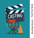 Stock vector cool vector casting concept illustration movie producing film direction studio shooting stage 742767343